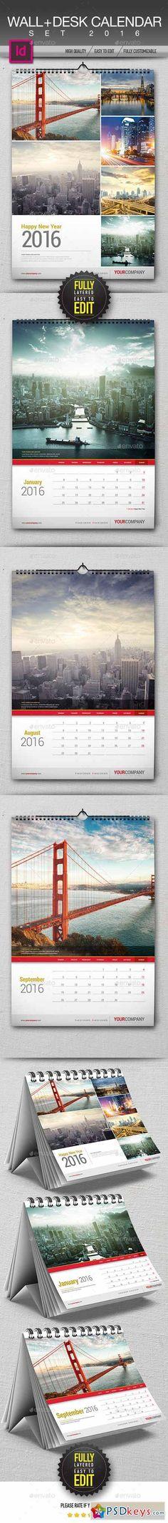 Calendars Vol 2 Calendar design, Print templates and Font logo - indesign calendar template