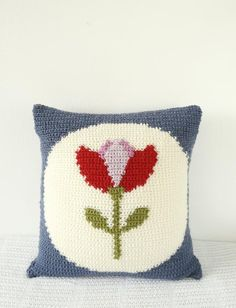 Retro Tulip Crochet Cushion - to make your own fun crochet cushion head over to LoveCrochet and shop the pattern!