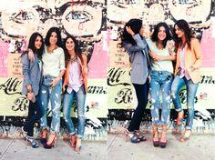 Grafitti wall ( lovin the boyfriend jeans, statement necklaces, and blazers )