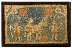 Antique Hooked Rug, Horse with Bird, Anonymous, entire view