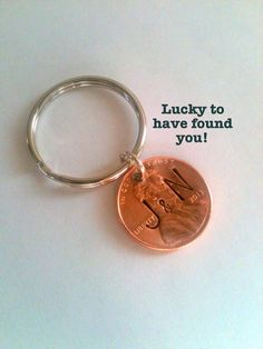 Personalized Couple Key Chain, Lucky Penny Stamped on Specific Year, When you found each other/first met. Keychain, Key Ring for Husband, Wife, Boyfriend, Girlfriend, Found You! Valentines Day Gift Ideas, Cards