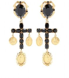 Crystal Cross Earrings - DOLCE GABBANA