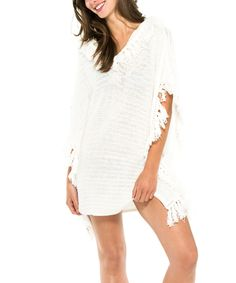 Look at this EVERYDAY SUNDAY Off-White Hooded Cover-Up on #zulily today!