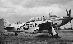 2-seat P-51 Mustang (VF-S, serial number 44-72210) of the 336th Fighter Squadron, 4th Fighter Group with cockpit double-split open. This was because the aircraft was modified to take a second seat for a radar operator, with antenna fitted on the wing. Information provided by Debden historian Keith Braybrooke.