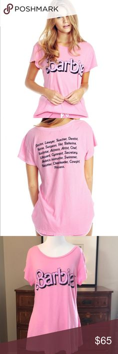 Wildfox Pink Barbie Dream House Resume T-Shirt Wildfox pink Barbie short sleeve T-shirt. 100 percent cotton. Excellent used condition. Size small, oversized so would also fit a medium. Barbies resume is on the back. Cute and hard to find ❤️ Wildfox Tops Tees - Short Sleeve
