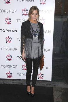 The Olivia Evolution: The Making Of A Style Icon #refinery29 http://www.refinery29.com/olivia-palermo-style#slide-4 April 1, 2009: At the Topshop store opening in New York (remember when, guys?), Olivia rocks a giant bib necklace and fringed jacket. There's our girl!Photo: Rex USA...