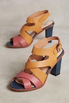 633fbb618387 Vanessa Wu Colorblock Heeled Sandals Low Heel Sandals