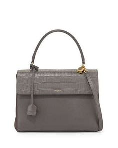 Moujik Crocodile-Embossed Satchel Bag, Gray by Saint Laurent at Neiman Marcus.