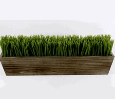 "Grass Display 24"" Wood Planter with Faux Grass"