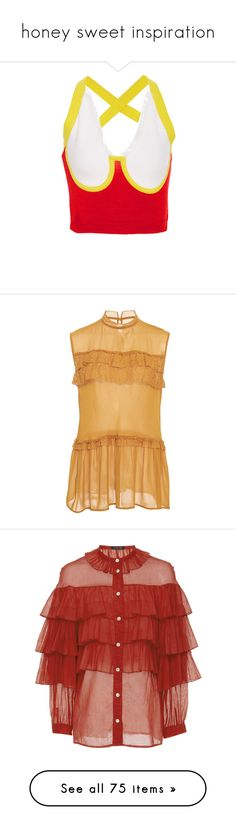 """""""honey sweet inspiration"""" by liujiaxie ❤ liked on Polyvore featuring tops, white, white fringe tank top, bustier crop tops, white singlet, white tank top, cropped tank top, blouses, orange and frilly blouse"""