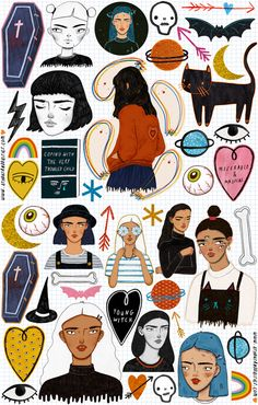 athousanddaisies: New sticker sheet in my store! Includes a total of 45 stickers… Illustration Arte, Totenkopf Tattoos, Doodles, New Sticker, Pink Lady, Illustrations And Posters, Aesthetic Art, Retro, Art Inspo