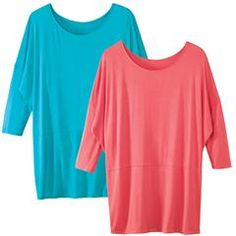 2-Pack of Dolman Sleeve Tops  Pack of (2) Springy tops, (one blue one coral) designed to fall below the hip.  Dolman sleeves, scoop neckline and relaxed draped fit.  Rayon Spandex, hand wash.  To order these Bright Sporty tops, visit me at:  http://www.youravon.com/mferguson1172    Thank You!