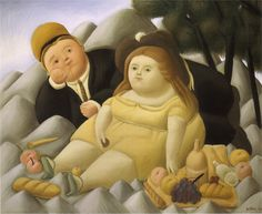 Picnic In The Mountains Artwork By Fernando Botero Oil Painting & Art Prints On Canvas For Sale Manet, Diego Rivera, Moritz Von Schwind, Frida Diego, Art Beauté, Fat Art, Oil Painting Reproductions, Art Moderne, Naive Art