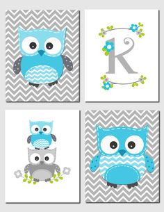 Owl Nursery Art Blue Gray Owls Initial Monogram Baby Nursery Boy Girl Kids Wall Art Chevron Owl Nursery Decor, Set of 4, Art Prints by vtdesigns on Etsy