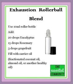 exhaustion essential oil blend made with eucalyptus, rosemary and grapefruit. I'll need this every day.