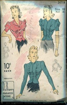 "MISSES' AND WOMEN'S BLOUSE SET. Two styles are included: one is the ""Weskit"" style with notched collar rolling to a single-breasted closing and finished with short shirred sleeves; the other style is fashioned with a tapering front panel cut with the peplum detail and accented by gathers. Blouse may be finished with long or short sleeves. A slide fastener may replace the buttons and loops."