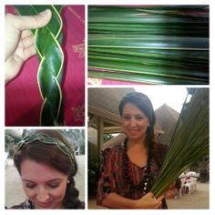 Making headbands out of coconut leaves~by Pink Pewter What will she think of next?!