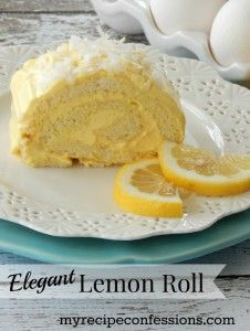Elegant Lemon Roll. This cake screams summer and sunshine! It so refreshing and light it's hard to stop with just one slice. I am sucker for lemon desserts, and this is one of my favorite recipes!