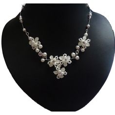 Brautschmuck set perlen creme  Perlen Brautkette Ornara Design handgefertigt ...