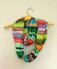 Infinity or Loop scarf African motif, lovely colors for spring #popofcolor