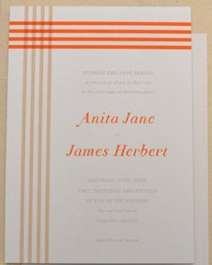 Striped Invitation. This fresh invite is inspired by a colorful plaid design.