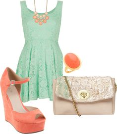 """""""Teal and Coral"""" by alyssa-rachelle-bailey on Polyvore"""