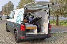 Bullifaktur's rustic modules fit together to create your ultimate VW camper van Van Conversion Interior, Camper Van Conversion Diy, Van Interior, Vw Camper Conversions, Travel Trailer Tires, Vw Transporter Camper, Kombi Home, Combi Vw, Le Mans
