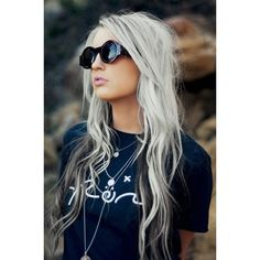 28 Gals Who Are Pulling Off Silver Hair ❤ liked on Polyvore featuring accessories, hair accessories, hair, hairstyles, silver hair accessories and purple hair accessories