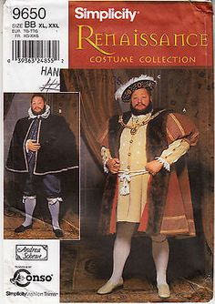 Renaissance King Henry Costume Mens Simplicity 9650 Sewing Pattern XL-XXL Uncut