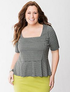 Houndstooth peplum top - Lane Bryant Fall 2013..maybe with different colored skirt