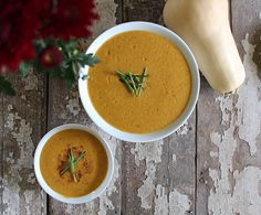 Creamy Butternut Squash and Apple Soup | nutritionstripped....  A non-dairy creamy and thick butternut squash soup, lightly sweetened with seasonal apples. #vegan #paleo #holiday #vegetarian #glutenfree #soup #thanksgiving #halloween #fall