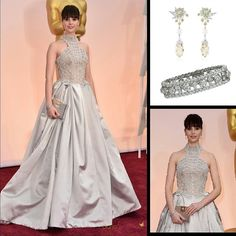 Felicity Jones looked very captivating in her dove gray  Sarah Burton for Alexander McQueen gown at the Oscar Awards in 2015. The charming actress opted to keep her accessories as simple and elegant as her gown of her choice choosing to wear @vancleefarpels white and yellow diamonds earrings from the  with briolette-cut champagne diamond drops set in 18k white gold from the '?Dans les Étoiles' Collection and diamond bracelet in platinum from the 'Snowflake' Collection.  #purplebyanki…