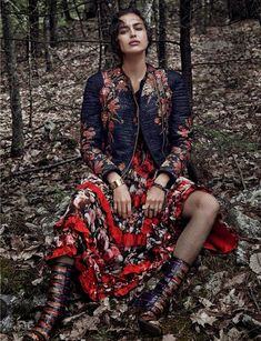 Bohemian Vacation Editorials - Irina Shayk Stars in this Woodsy Spread for Vogue Spain December 2013 (GALLERY)