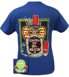 Girlie Girl Originals Teachers Are Mason Jar Bow Teach Bright T Shirt | SimplyCuteTees