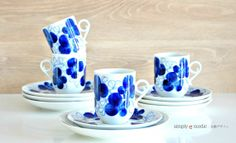 Your place to buy and sell all things handmade Vintage Cups, Coffee Set, Nordic Design, Cobalt Blue, Cup And Saucer, Finland, Scandinavian, Floral Prints, Pottery