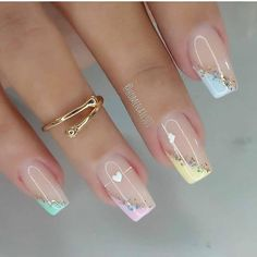 Gold Gel Nails, Glitter French Nails, Pink Ombre Nails, Best Acrylic Nails, Nail Art Designs Videos, Nail Designs, Art Deco Nails, Christmas Gel Nails, Acryl Nails