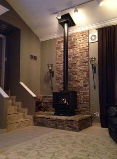 stone freestanding fireplace nz - Google Search