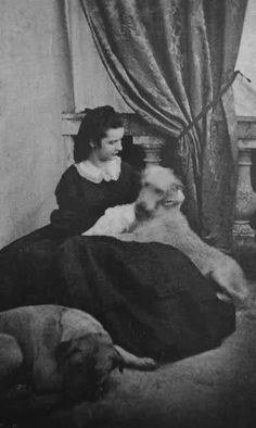 Sissi and her dogs.Empress Elisabeth of Austria
