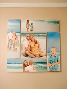 Family Photos:  A gallery wall of family photos looks great in any home, but here's a new DIY twist from photographer Laura Brett. Fellow photographer Rebecca Knowles took several photos of Laura and her family that Laura had printed on canvas and stretched before arranging in a tight block. The interesting composition makes it wall art.