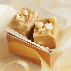 Honey- and-Macadamia Nut Fudge..cute gold package