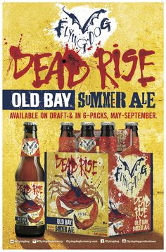 Dead Rise Old Bay Summer Ale | Flying Dog Brewing Co.  For our over 21 guests, we hot-glued a navy blue ribbon around the neck of each bottle. The ribbon was bought on theknot.com emblazoned with Karen & Sean July 6, 2014