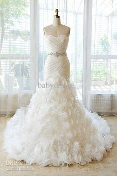 Wholesale Wedding Dresses - Buy New White Strapless Mermaid Wedding Dresses Sash Lace-Up Summer Beach Sweetheart Bridal Gown DH4337, $161.36 | DHgate