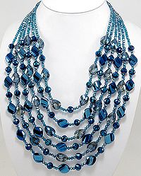 Necklace beaded with Crystal Glass