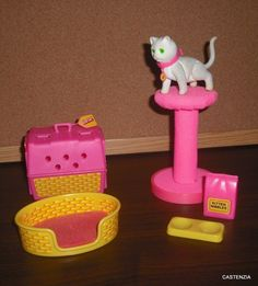 Barbie's Kitten Fluff Set by Mattel, 1982. A girl I knew had the cat, but I don't remember seeing the playset.