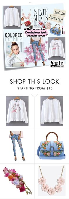 """""""Cranes Embroidery Peplum Frill Blouse"""" by kristina779 ❤ liked on Polyvore featuring Post-It, Gucci, Accessorize and J.Crew"""