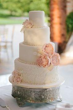 Elegant wedding cake: blush pink peonies, blush roses, lace, and strings of fondant pearls   Chicago Botanic Garden Wedding   Jenelle Kappe Photography