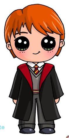 Ideas How To Draw Harry Potter Ron Weasley Kawaii Girl Drawings, Disney Drawings, Cartoon Drawings, Cute Drawings, Harry Potter Ron, Harry Potter Drawings, Harry Potter Background, Desenhos Harry Potter, Kawaii Disney