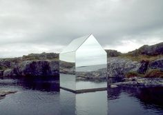 Ekkehard Altenburger, Mirror house,  Temporary installation on the Isle of Tyree, Scotland.  Mirror on steel frame.  1996