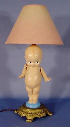 1157: Plaster Kewpie Lamp Base with Movable Arms : Lot 1157