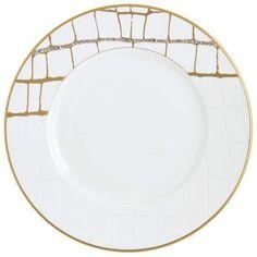 5db59dfff20ed Domenico Vacca by Prouna Alligator Gold Swarovski Crystal Salad Plate